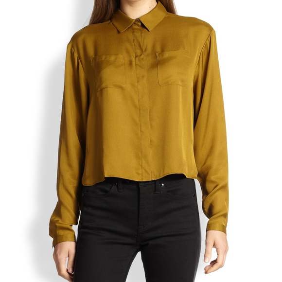 Burberry Tops - Burberry Metallic Cropped Silk Blouse Size Small